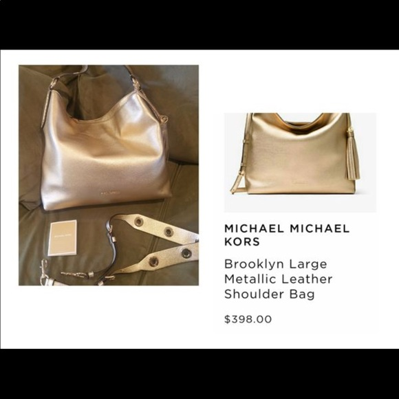 379f13757d6d Michael Kors Bags | Brooklyn Large Metallic Leather | Poshmark